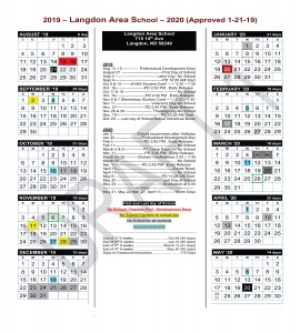 School Calendar: 2019 Aug 15, 16 Professional Development Days August 21First Day of School Sept 2 Labor Day- No School Sept 4 PD 10:28 AM Start Oct 9 & 10 JH/HS Student Conf 3:30 – 7:30 Oct. 16 PD 2:42 PM Early Release Oct 17 & 18 No School Oct. 16 PD 2:42 PM Early Release Nov 6 & 7 Elementary Student Conf 3:30 – 7:30 Nov 11 Veteran's Day-No School Nov. 27 PD 2:42 PM Early Release Nov 28 & 29 Thanksgiving-No School Dec. 18 PD 10:28 AM Start Dec 20 Last day of School before Christmas Break 2020 Jan 2 School reconvenes after Holidays Jan 20 Professional Development Day Feb 5 PD 2:42 PM Early Release Feb 17 No School March 5 & 6 PT Comp Days No School Mar. 11 PD 2:42 PM Early Release March 25-26 Student Conferences 3:30-7:30 March 20 No School Apr. 1 PD 2:42 PM Early Release April 10 Easter Break April 13 No School May 6 PD 10:28 AM Start May 20 Last Day of School May 24 Graduation at 2:00 Storm Days In order May 21, May 22 Mar. 27, April 13, End of 1st 9 weeks Oct 24 (44 days) End of 2nd 9 weeks Jan 10 (45 days) End of 3rd 9 weeks March 13 (41 days) End of 4th 9 weeks May 20 (45 days) Days of Classroom instruction 175 Days